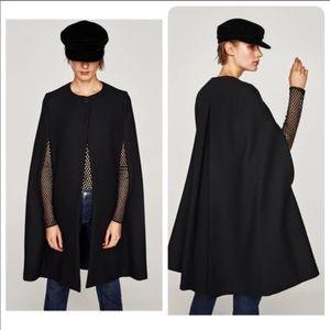 Zara Black Long Cloth Wool Cape Coat Jacket